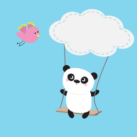 Panda ride on the swing. Cloud shape.