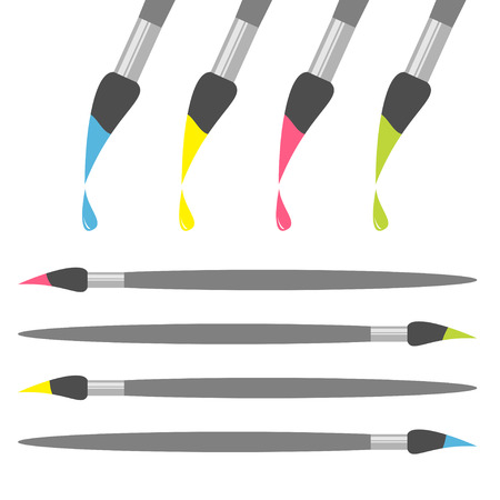 paint drop: Paint brush icon set. Pink yellow blue green color drop. Back to school. Flat design. Isolated. White background. Vector illustration