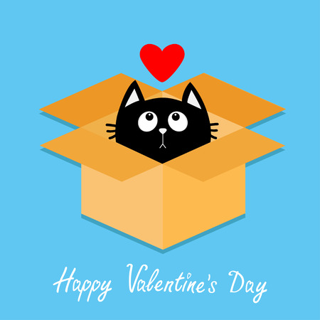 delivered: Cat inside opened cardboard package box. Kitten looking up to red heart. Happy Valentines day. Illustration