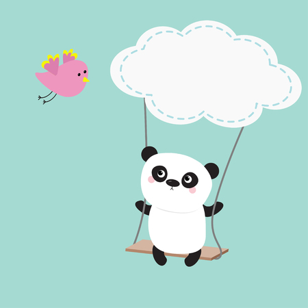 Panda ride on the swing. Cloud shape. Flying pink bird. Cute fat cartoon character. Kawaii baby collection. Love card. Flat design Funny kids style Blue sky background Vector illustration