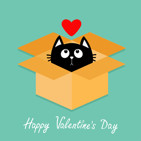 delivered: Cat inside opened cardboard package box. Kitten looking up to red heart. Happy Valentines day Flat design style.