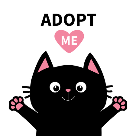 Adopt me Dont buy. Pink heart Black cat face head, paw print silhouette. Cute cartoon character. Help animal concept Pet adoption Flat design White background. Isolated Vector illustration