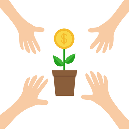 Four Hands arms reaching to Growing money tree big coin with dollar sign Plant in the pot. Financial growth concept. Successful business icon. Flat design. White background. Isolated. Vector