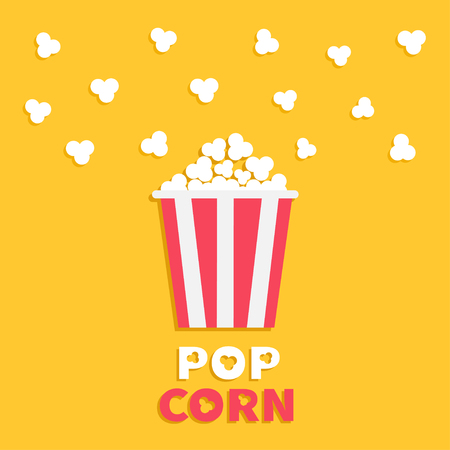 pop corn: Popcorn popping. Red yellow strip box package. Cinema movie night icon in flat design style. Fast food. Illustration