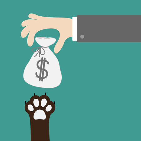 Hand golding money bag with dollar sign. Dog cat paw print taking gift. Adopt, donate, help, love pet animal. Helping hand concept. Flat design style. Green background. Vector illustration. Illustration