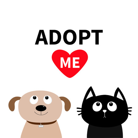 Puppy pooch kitty cat looking up to red heart. Flat design. Help homeless animal concept. White background.