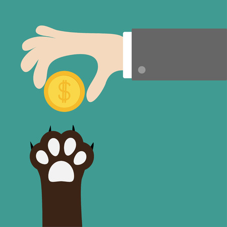 Hand giving golden coin money with dollar sign. Dog cat paw print taking gift. Adopt, donate, help, love pet animal. Helping hand concept. Flat design style. Green background. Vector illustration.
