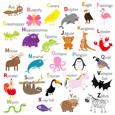 動物園動物のアルファベット - かわいい漫画文字セット。