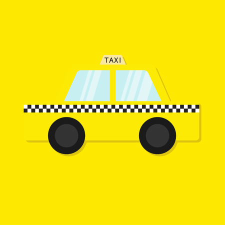 Taxi car cab icon. Cartoon transportation collection. Taxicab. Checker line, light sign. New York symbol.