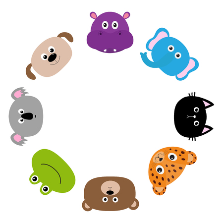 Cat, jaguar, dog, hippopotamus, elephant, bear, frog, koala. Zoo animal head face. Cute cartoon character set Round circle frame. Baby children education. Flat design White background Isolated Vector Illustration