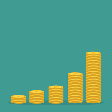 one us dollar coin: Gold coin stacks icon in shape of diagram. Dollar sign symbol. Cash money. Going up graph. Income and profits. Growing business concept. Green background. Isolated. Flat design. Vector illustration Illustration