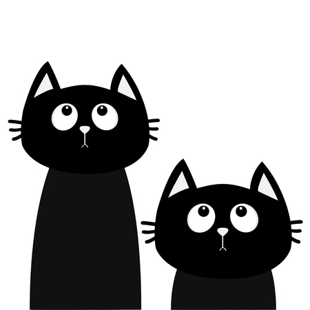 Two black cat set looking up. Friends forever. Cute cartoon character. Kawaii animal. Love Greeting card. Flat design style. White background. Isolated. Vector illustration Illustration