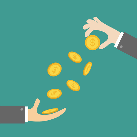Giving taking Hands with falling down golden coin money dollar sign. Helping hand concept. Business support credit icon set. Flat design style. Green background. Vector illustration.