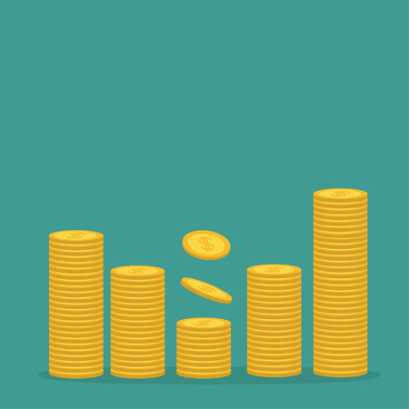 one us dollar coin: Stacks of gold coin icon. Diagram shape. Dollar sign symbol. Cash money. Going up graph. Income and profits. Growing business concept. Green background. Isolated. Flat design. Vector illustration