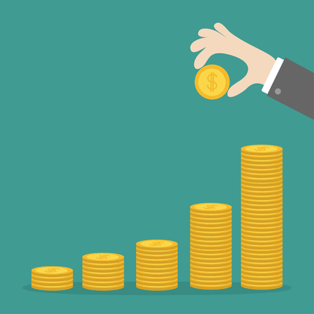Hand holding gold coin icon. Diagram shape stacks. Dollar sign symbol. Cash money. Going up graph. Income and profits. Growing business concept. Green background. Isolated. Flat design. Vector Illustration