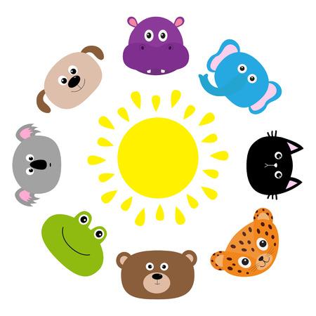 Cat, jaguar, dog, hippopotamus, elephant, bear, frog, koala. Roundelay around sun Zoo.Cute cartoon character set. Baby children education. Flat design White background Isolated Vector