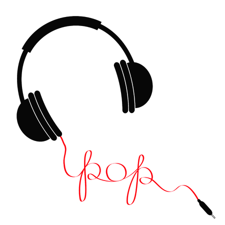 Black headphones with red cord in shape of word pop. Music card. Flat design icon White background. Isolated. Vector illustration