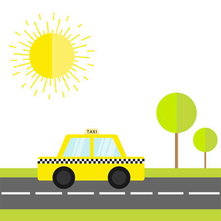 Taxi car cab icon on the road. Green grass, tree, shining sun. Cartoon transportation collection. Yellow taxicab. Checker line, light sign. New York symbol. White background. Vector illustration Illustration