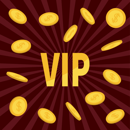VIP. Golden text Flying dollar sign gold coin rain. Online casino, roulette, poker, slot machines, card games, gambling club banner. Flat design. Bordo starburst sunburst background. Vector Illustration