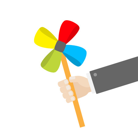 pinwheel toy: Businessman hand holding paper windmill pinwheel toy on stick. White background. Isolated. Flat design Vector illustration Illustration