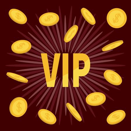 bordo: VIP. Golden text Flying coin rain with dollar sign. Online casino, roulette, poker, slot machines, card games, gambling club banner. Flat design. Bordo starburst sunburst background. Vector