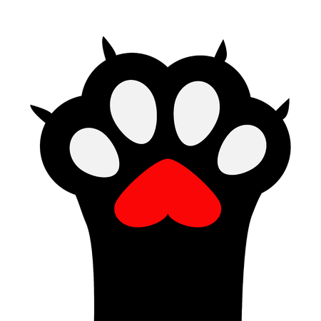 Big black cat paw print leg foot with nail claw. Red heart sign symbol. Cute cartoon character body part silhouette. Baby pet collection. Flat design. White background. Isolated. Vector illustration Illustration