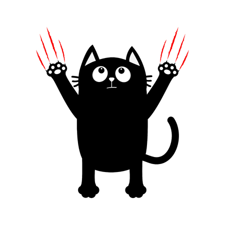 Cartoon black cat. Red bloody claws animal scratch scrape track. Cute funny character. White background. Isolated. Flat design. Vector illustration Illustration