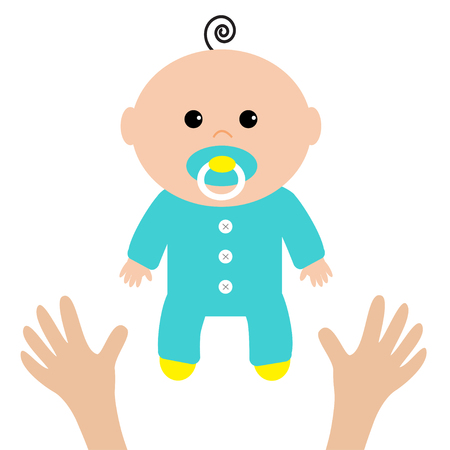Two human hands. Mother care. Baby shower card. Its a boy. Flat design style. White background. Isolated. Vector illustration. Ilustração