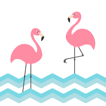 Pink flamingo family set. Blue sea ocean water zigzag wave. Exotic tropical bird. Zoo animal collection. Cute cartoon character. Decoration element. Flat design. White background. Vector illustration.