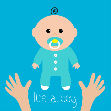 Baby shower card. Its a boy. Two human hands. Mother care. Flat design style. Blue background. Vector illustration.
