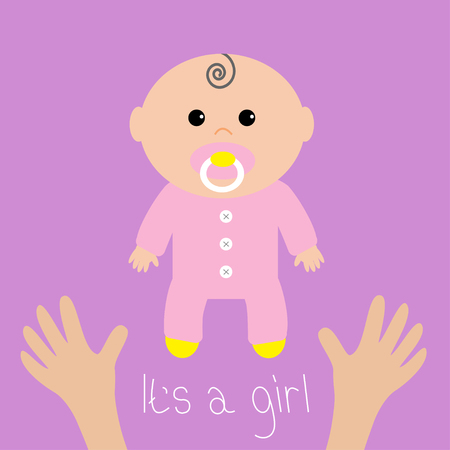 chap: Baby shower card. Its a girl. Two human hands. Mother care. Flat design style. Purple background. Isolated. Vector illustration.