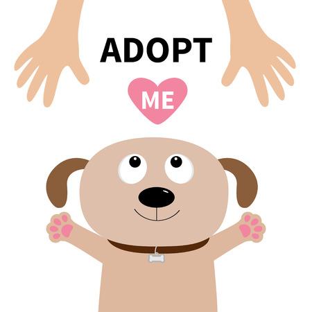 Adopteer me. Honden gezicht. Pet adoptie. Puppy hondje op zoek naar menselijke hand, pootafdruk knuffel. Plat ontwerp. Help dakloze dieren concept. Leuke stripfiguur. Witte achtergrond. Geïsoleerd.