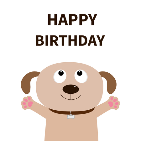 Dog face. Pet collection. Puppy pooch looking up. Paw print hug. Happy Birthday. Greeting card. Flat design. Illustration
