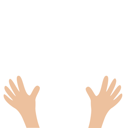 Two hands palms arm with fingers. Close up body part. Helping hand. White background. Isolated. Flat design. Vector illustration Illustration