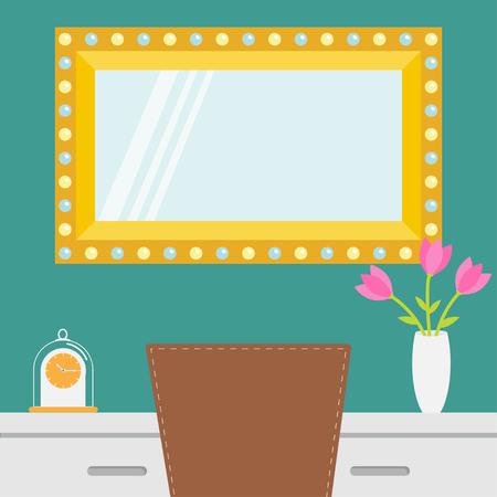 Gouden retro make-upspiegel met elektrische gloeilamp. Lichtend lampje. Tafel, stoel, vaas met bloem, klok. Decoratie interieur element sjabloon. Plat ontwerp. Witte achtergrond. Geïsoleerde Vector