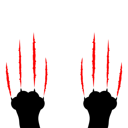 Black cat scratching. Two paw print leg foot. Bloody claws animal red scratch scrape track. Cute cartoon character Body part silhouette. Baby pet collection. Flat design. White background. Vector Ilustração