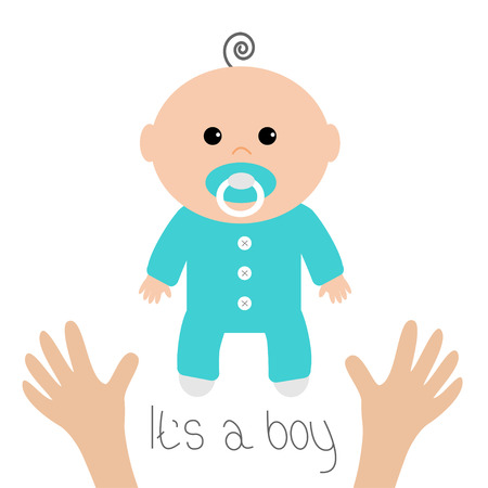 Baby shower card. Its a boy. Two human hands. Mother care. Flat design style. White background. Isolated. Vector illustration.
