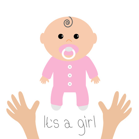 Baby shower card. Its a girl. Two human hands. Mother care. Flat design style. White background. Isolated. Vector illustration.
