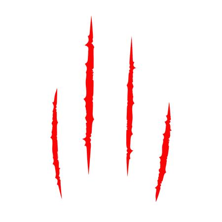 kampfhund: Roter blutiger Kratzertierkratzer kratzen Spur. Katzentiger kratzt Tatze. Vier Nägel verfolgen. Lustiges Element. Flaches Design. Weißer Hintergrund. Isoliert. Vektor-Illustration