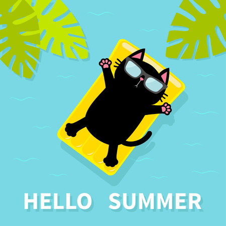 Black cat floating on yellow air pool water mattress. Hello Summer. Palm tree leaf. Cute cartoon relaxing character. Sunglasses. Sea Ocean water with zigzag waves. Blue background. Flat design. Vector Illustration