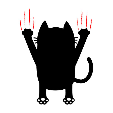 silueta de gato: Cartoon black cat. Back view. Red bloody claws animal scratch scrape track. Cute funny character. White background. Isolated. Flat design. Vector illustration Vectores