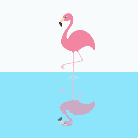 Pink flamingo standing on one leg. Circles on the water shadow. Exotic tropical bird. Zoo animal collection. Cute cartoon character. Decoration element. Flat design. White blue background. Vector Illustration