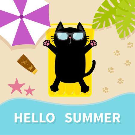 Gatto nero ginnastica sulla spiaggia Materasso in acqua giallo piscina d'acqua. Ciao Estate.