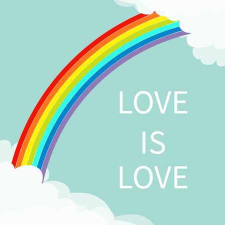 Love is love. Rainbow in the sky. Fluffy cloud in corners frame template. Cloudshape. Illustration