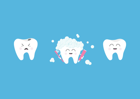 Healthy smiling tooth icon set. Crying bad ill teeth with caries. Toothbrush with toothpaste bubble foam. Illustration