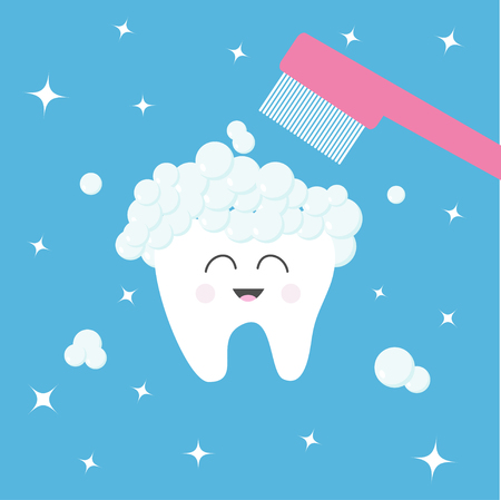 歯のアイコン。歯ブラシ歯磨き粉の泡泡。歯を磨きます。かわいい面白い漫画の文字の笑顔します。口腔歯科衛生士。健康管理。赤ちゃんの背景。