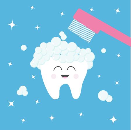 치아 아이콘입니다. 치약 거품 거품과 칫 솔입니다. 치아를 닦으십시오. 귀여운 재미있는 만화 웃는 캐릭터. 구강 치과 위생. 건강 관리. 아기 배경입니