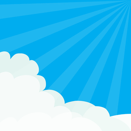 Sun light rays burst. Blue sky. Sunshine Fluffy Cloud in corners frame template. Cloudshape. Cloudy weather. Flat design. Background.