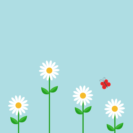 daisy wheel: Red butterfly. White daisy chamomile set. Cute growing flower plant. Love card. Camomile icon. Illustration