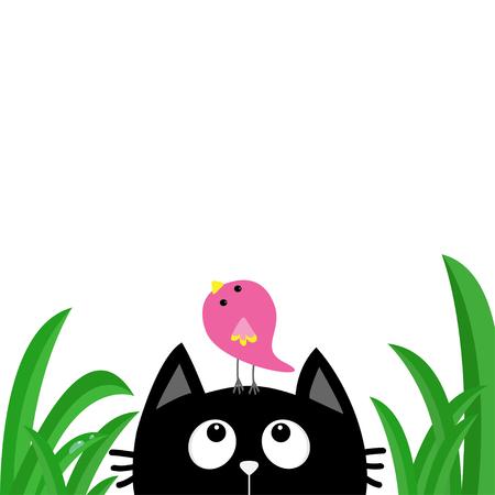 Black cat face head silhouette looking up to bird on head. Green grass dew drop. Cute cartoon character. Kawaii animal.